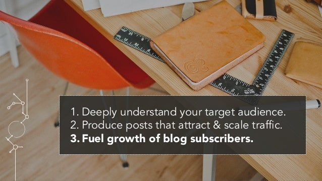 1.Deeply understand your target audience. 2.Produce posts that attract & scale traffic. 3.Fuel growth of blog subscribe...