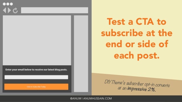 @ANUM   ANUMHUSSAIN.COM Test a CTA to subscribe at the end or side of each post. DIYTheme's subscriber opt-in converts  at...