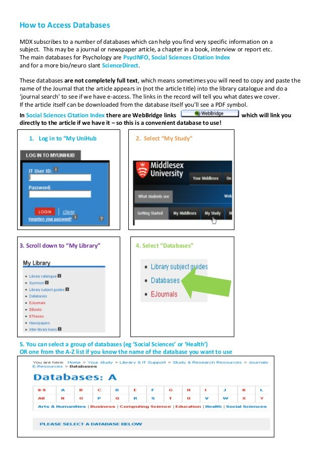 How to Access DatabasesMDX subscribes to a number of databases which can help you find very specific information on asubje...