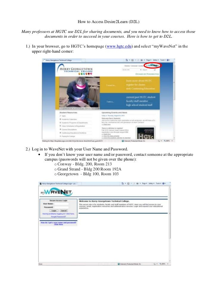 How to Access Desire2Learn (D2L)Many professors at HGTC use D2L for sharing documents, and you need to know how to access ...
