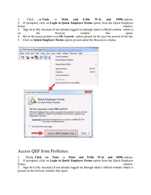 How to access quick employer forms for lacerte tax software (1)
