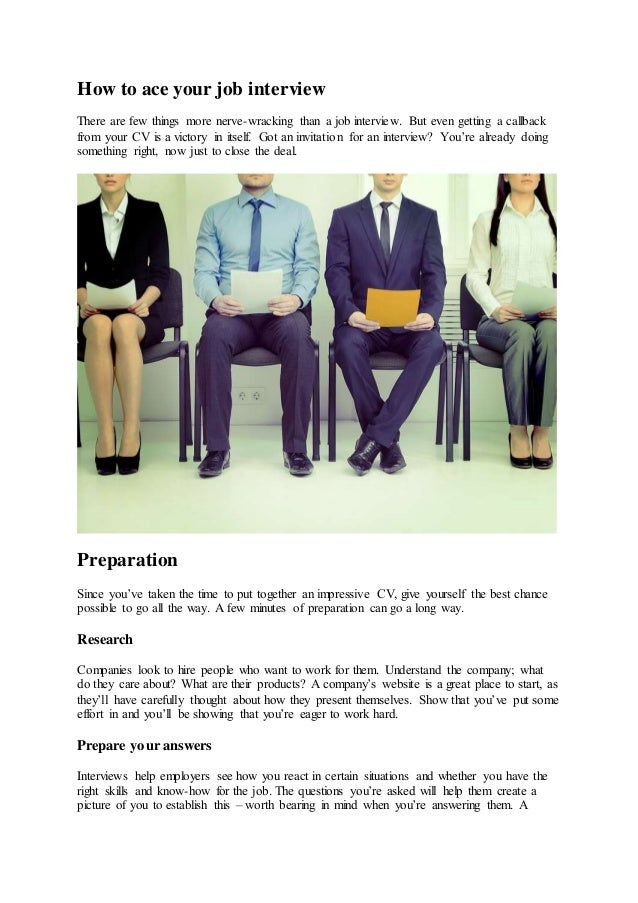 How To Ace Your Job Interview There Are Few Things More Nerve Wracking Than  A Question ...