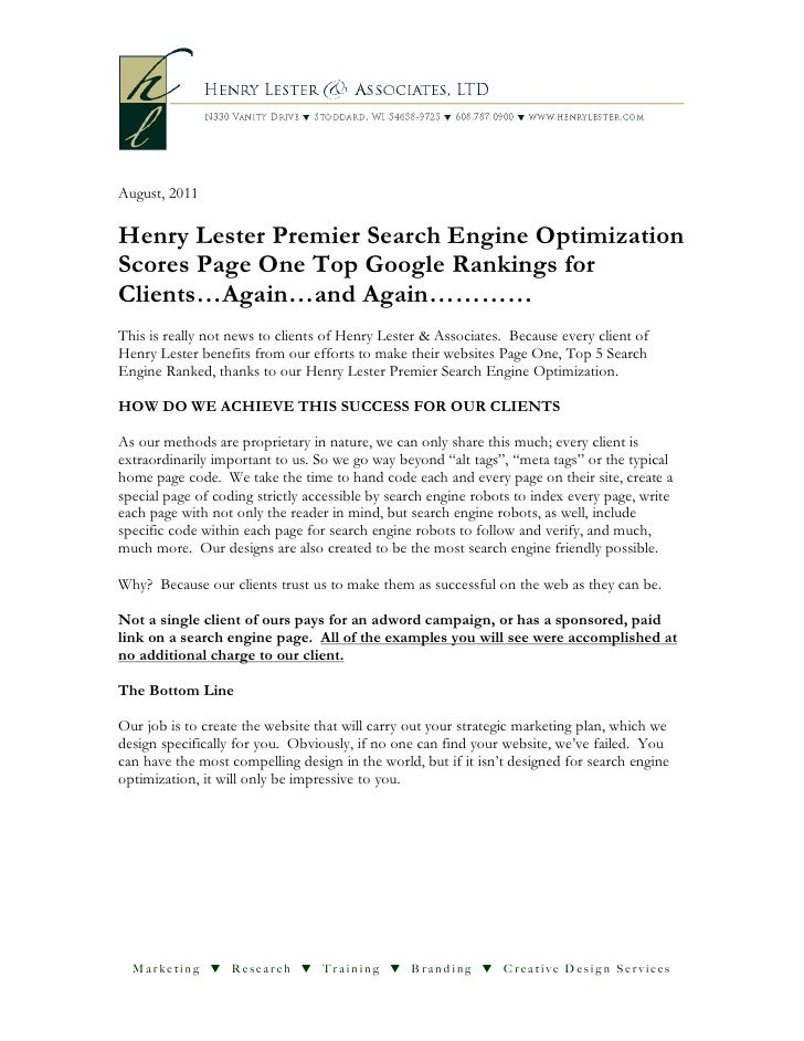 August, 2011Henry Lester Premier Search Engine OptimizationScores Page One Top Google Rankings forClients…Again…and Again…...