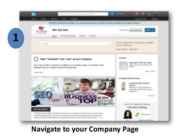 Navigate to your Company Page 1