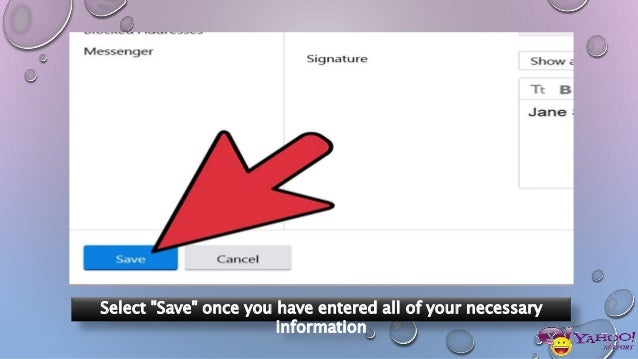 yahoo how to make signature email