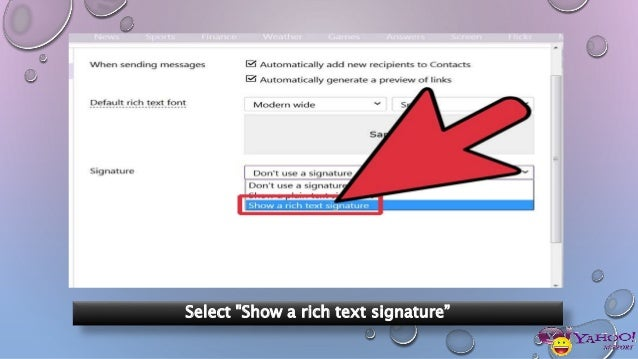 How to add signature line in yahoo email