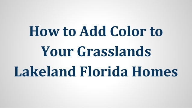 How to Add Color to Your Grasslands Lakeland Florida Homes