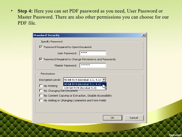 how to add password to pdf file