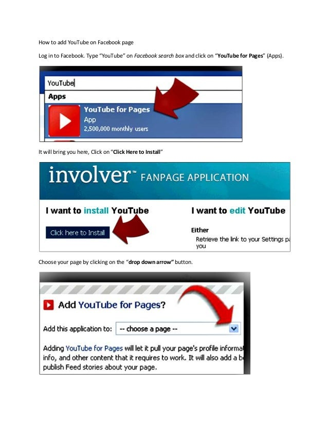 """How to add YouTube on Facebook pageLog in to Facebook. Type """"YouTube"""" on Facebook search box and click on """"YouTube for Pag..."""