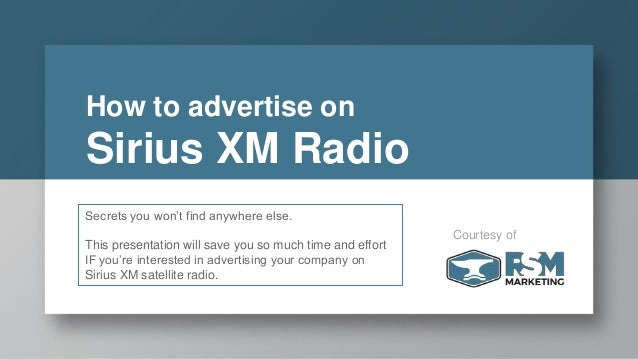 How to advertise on Sirius XM