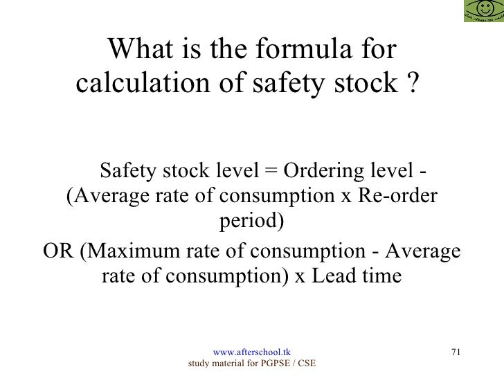 calculating safety stock - Template