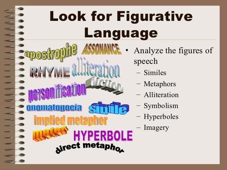 Look for Figurative Language <ul><li>Analyze the figures of speech </li></ul><ul><ul><li>Similes </li></ul></ul><ul><ul><l...
