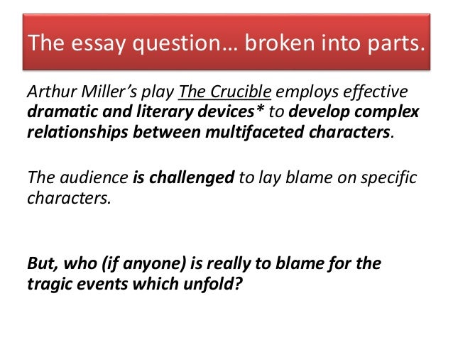 Essay questions answers crucible