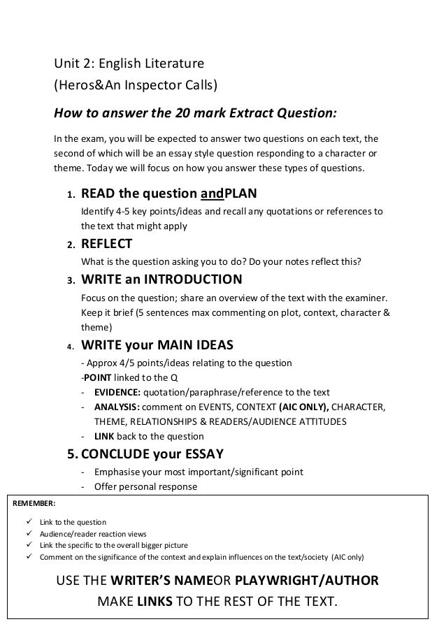 Position Paper Essay Unit  English Literature Herosan Inspector Calls How To Answer The   Mark Occupational Therapy Essay also Car Pollution Essay How To Answer The  Mark Essay Question Why Writing Is Important Essay