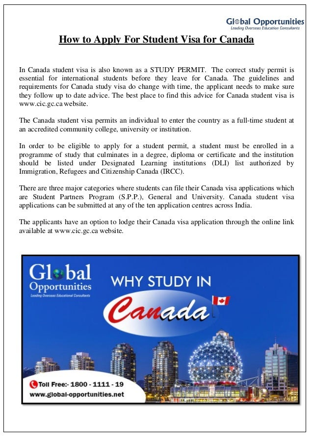How To Apply For Student Visa For Canada