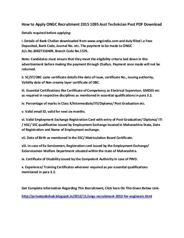 How to Apply ONGC Recruitment 2015 1095 Asst Technician Post