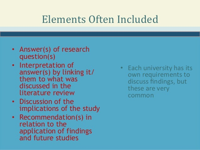 discussion of findings and linking to literature review