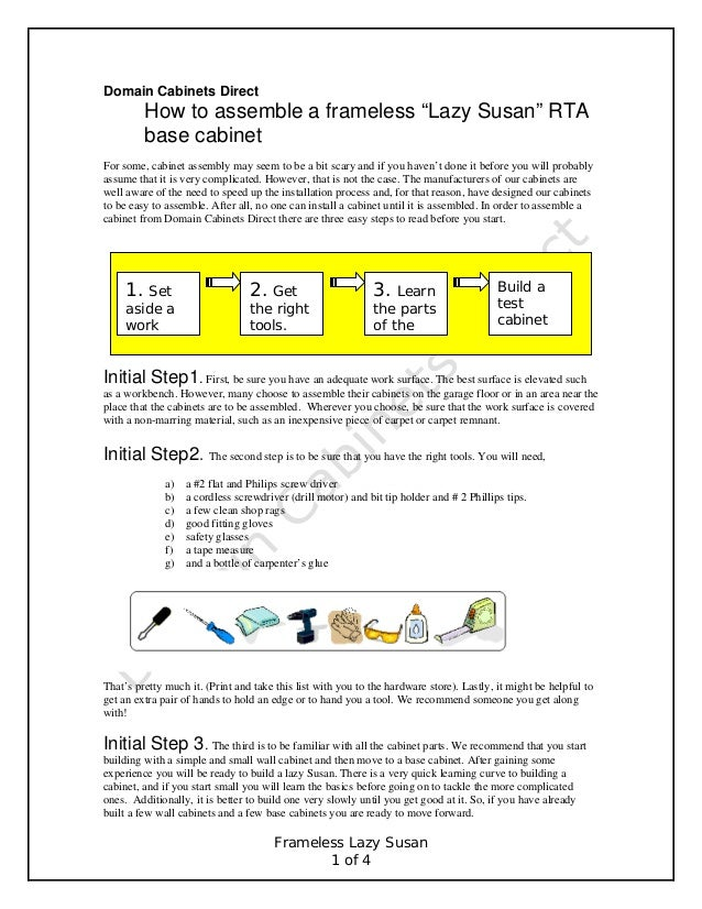 "Domain Cabinets Direct  How to assemble a frameless ""Lazy Susan"" RTA base cabinet For some, cabinet assembly may seem to b..."