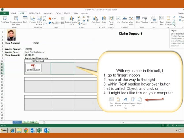 How to attach pdf file into excel file