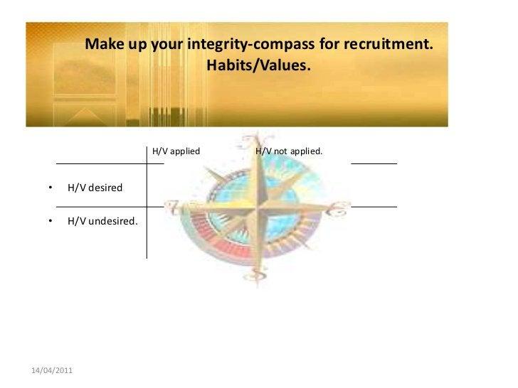 14/04/2011<br />Make up yourintegrity-compassforrecruitment.Habits/Values.<br />H/V applied H/V notapplied.<br />H/V des...