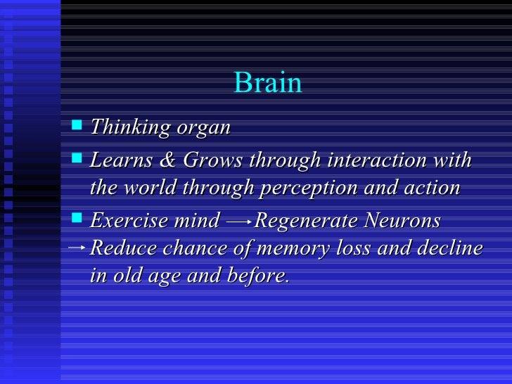 Brain <ul><li>Thinking organ </li></ul><ul><li>Learns & Grows through interaction with the world through perception and ac...