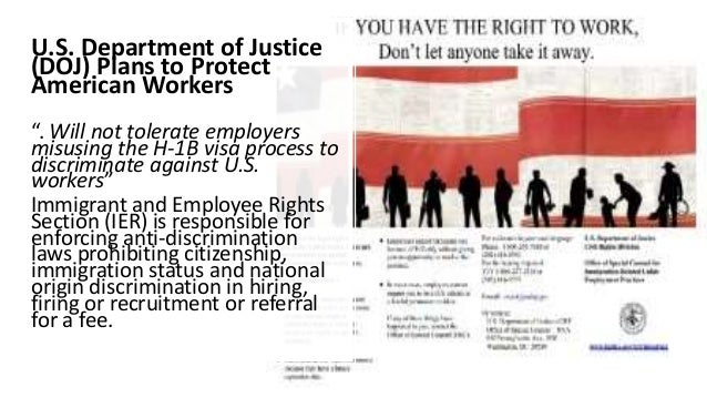 """U.S. Department of Justice (DOJ) Plans to Protect American Workers """". Will not tolerate employers misusing the H-1B visa p..."""