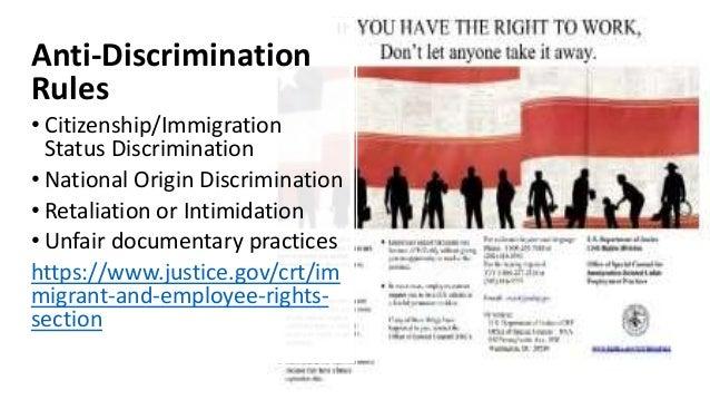 Anti-Discrimination Rules • Citizenship/Immigration Status Discrimination • National Origin Discrimination • Retaliation o...