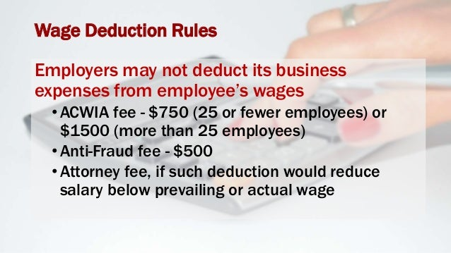 Wage Deduction Rules Employers cannot require repayment of petition costs or related business expenses upon employee's ter...