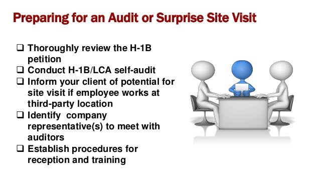 H-1B Worksite Visit File  Copy of H-1B petition including amended petitions  Employee W-2 forms, 3 months paystubs  Pre...
