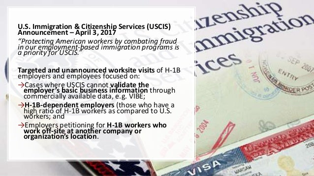 """U.S. Immigration & Citizenship Services (USCIS) Announcement – April 3, 2017 """"Protecting American workers by combating fra..."""