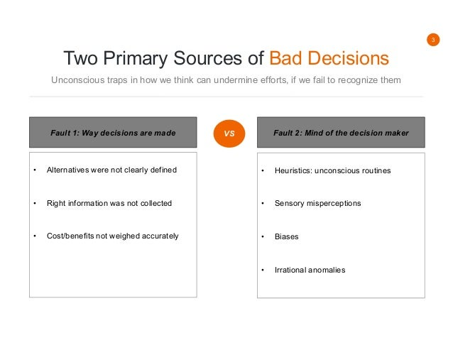 summary of the hidden traps in The hidden traps in decision making (hammond, keeney, raiffa, hbr, 1998) posted by patrick bertschy on september 17, 2011 sometimes bad decisions lie not in the decision-making process but rather in the mind of the decision maker.