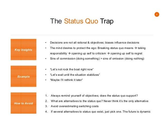 Question the status quo essay