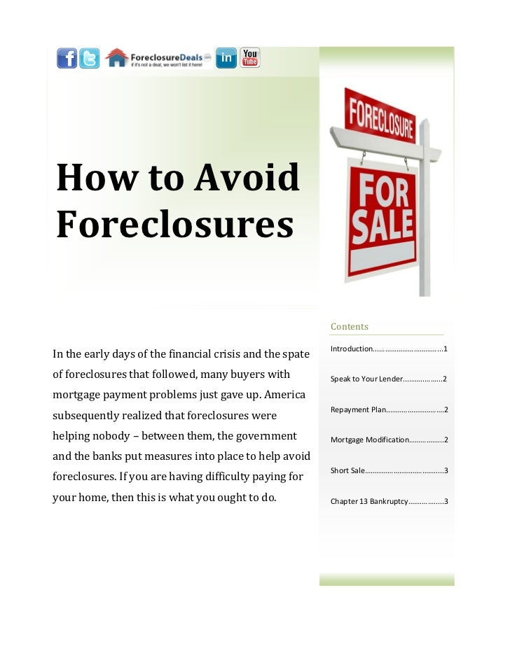 How to AvoidForeclosures                                                          Contents                                ...