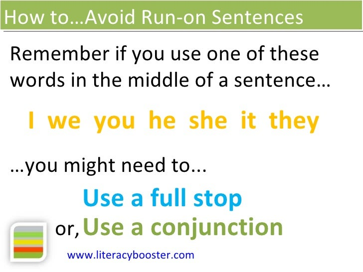 how to stop writing run on sentences