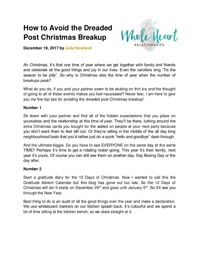 how to avoid the dreaded post christmas breakup december 19 2017 by julia nowland ah - What Day Is Christmas This Year