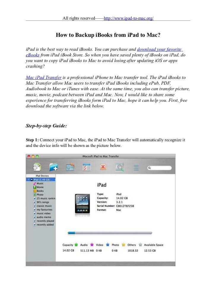 How to backup ibooks from ipad to mac