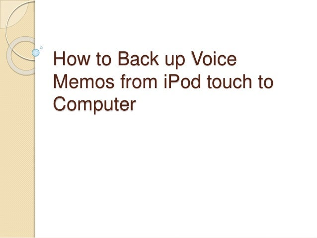 Backup ipod to computer