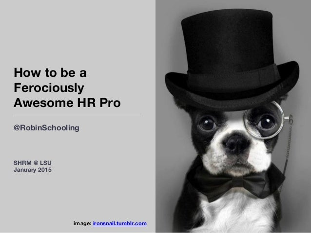 How to be a Ferociously Awesome HR Pro @RobinSchooling image: ironsnail.tumblr.com  SHRM @ LSU January 2015
