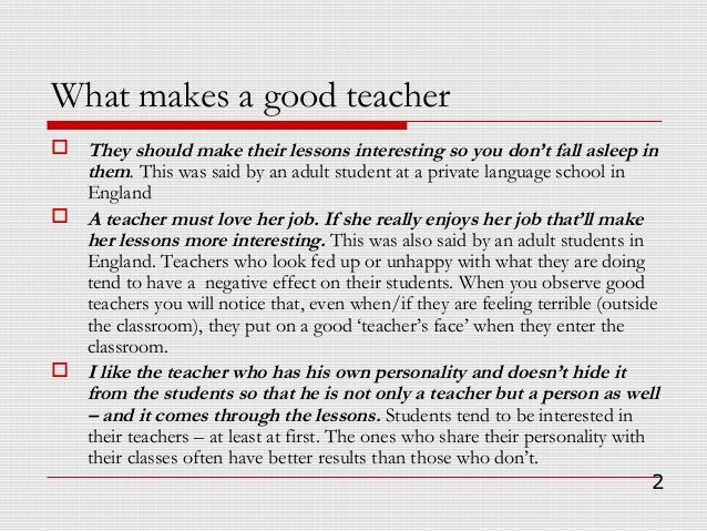 How to be  a good teacher Slide 2
