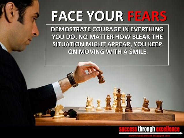 FACE YOURFACE YOUR FEARSFEARS DEMOSTRATE COURAGE IN EVERTHINGDEMOSTRATE COURAGE IN EVERTHING YOU DO. NO MATTER HOW BLEAK T...
