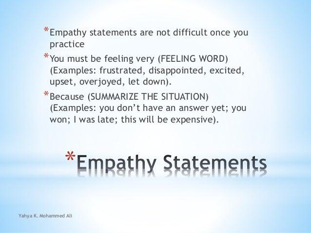 yahya k mohammed ali 23 empathy statements