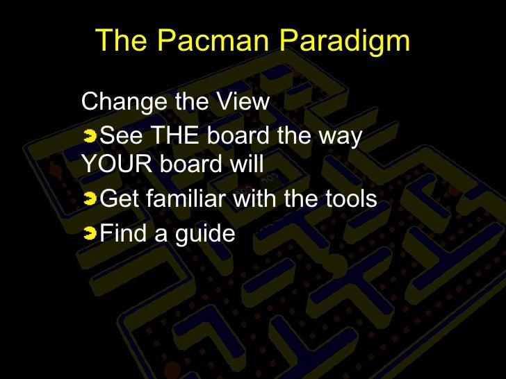 The Pacman Paradigm <ul><li>Change the View </li></ul><ul><li>See THE board the way YOUR board will </li></ul><ul><li>Get ...