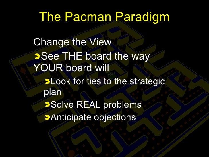 The Pacman Paradigm <ul><li>Change the View </li></ul><ul><li>See THE board the way YOUR board will </li></ul><ul><ul><li>...