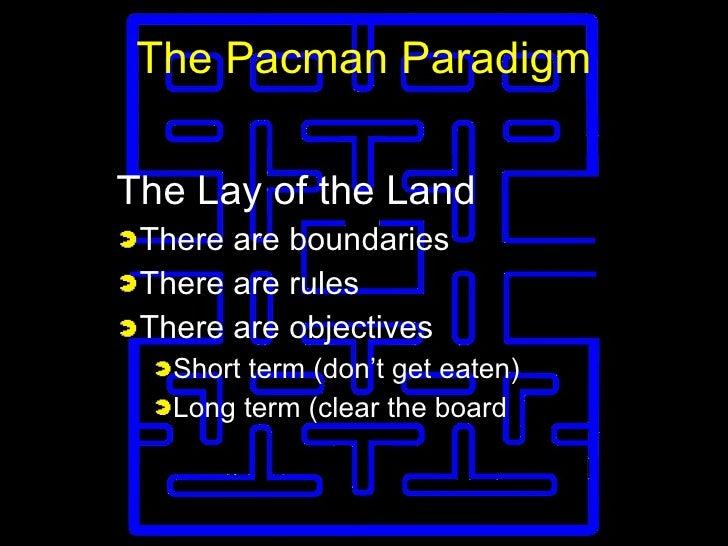 The Pacman Paradigm <ul><li>The Lay of the Land </li></ul><ul><li>There are boundaries </li></ul><ul><li>There are rules <...