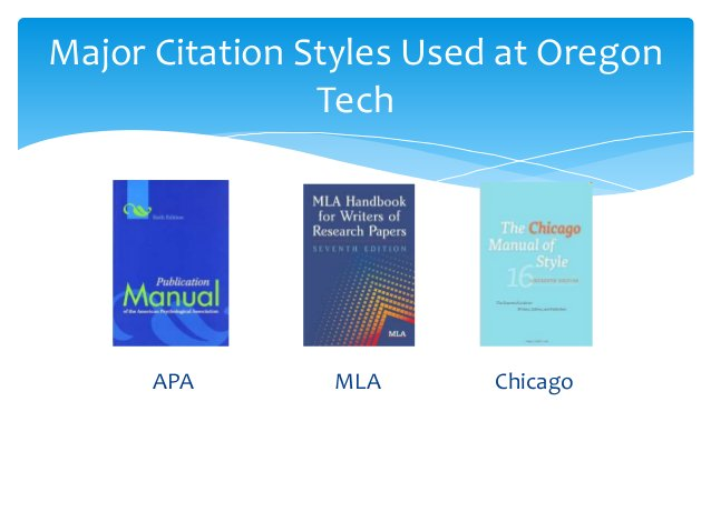APA MLA Chicago Major Citation Styles Used at Oregon Tech