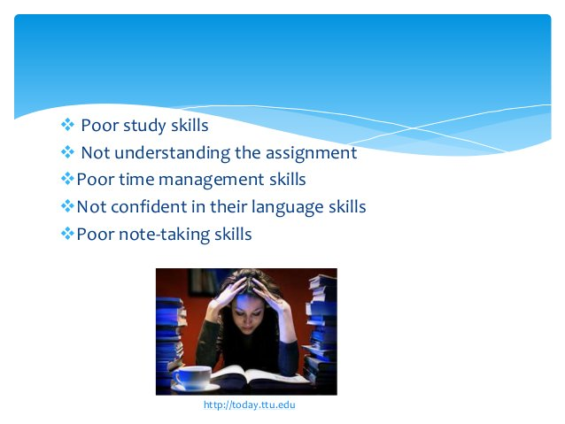  Poor study skills  Not understanding the assignment Poor time management skills Not confident in their language skill...