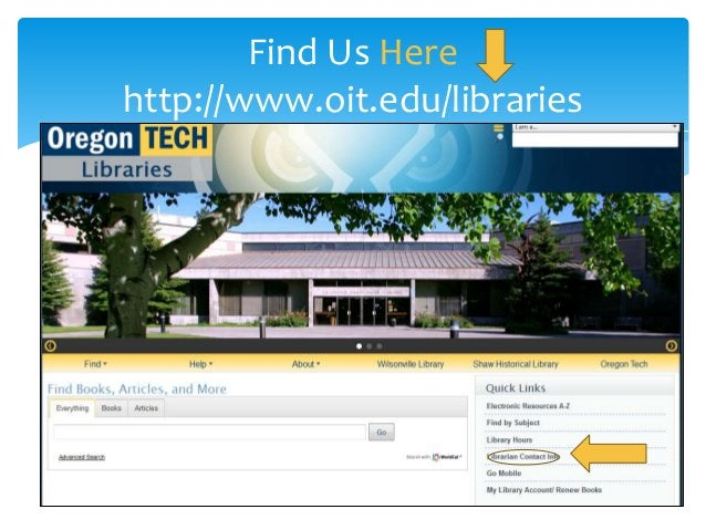 Find Us Here http://www.oit.edu/libraries