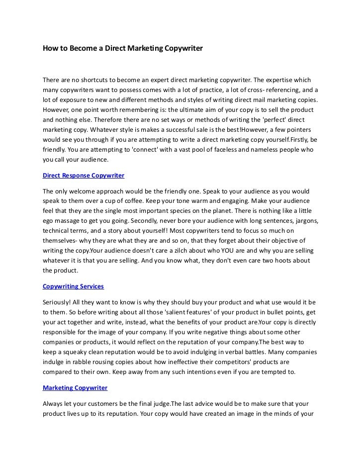 How to Become a Direct Marketing Copywriter