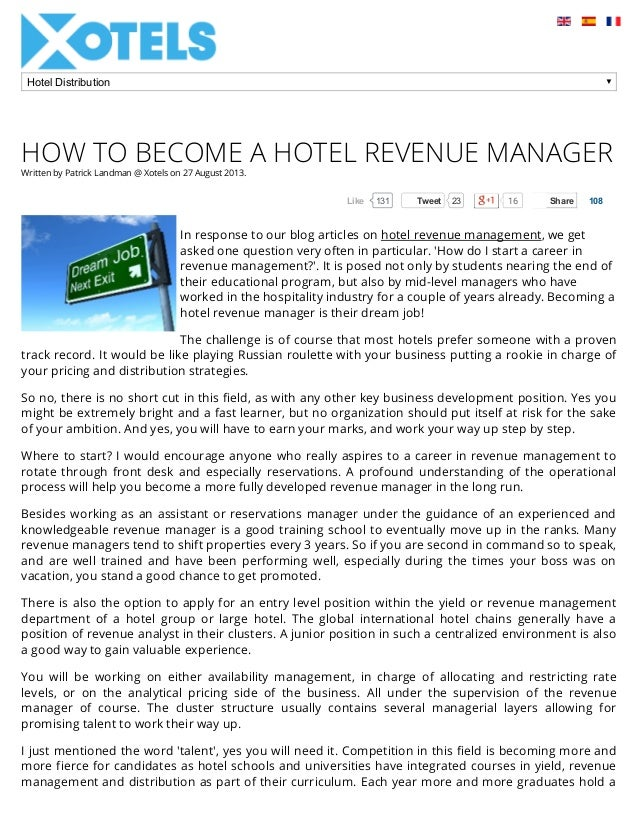 how to become a hotel revenue manager written by patrick landman xotels on 27 august