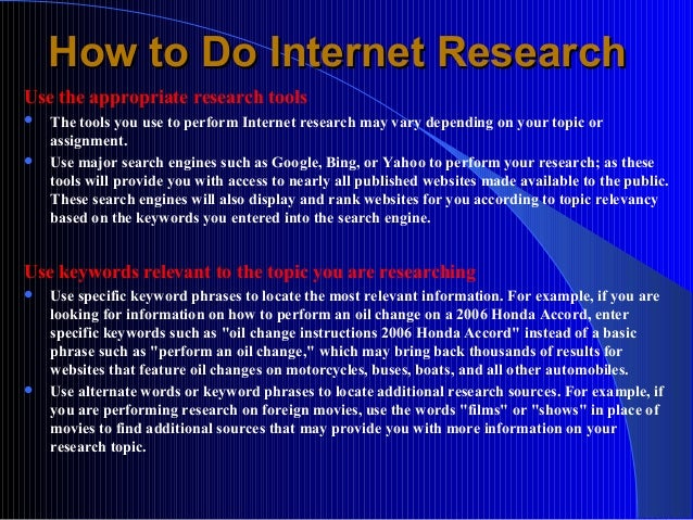 How to Do Internet Research